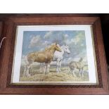 Pair of oak framed prints of Shires, a Keith Aspinall military print 'Trouble Brewing' etc.