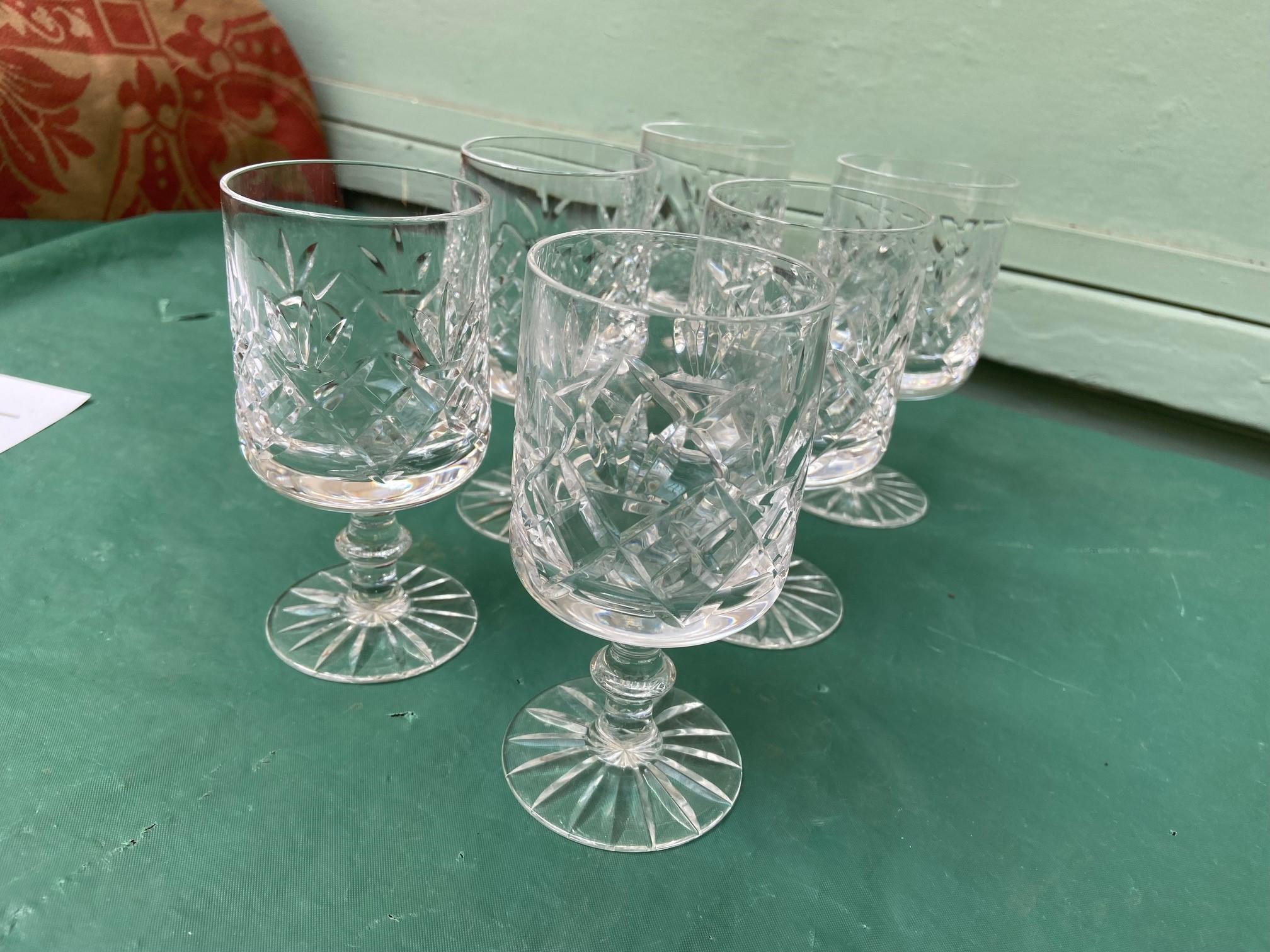 6 diamond cut Stuart crystal wine glasses - Image 11 of 11