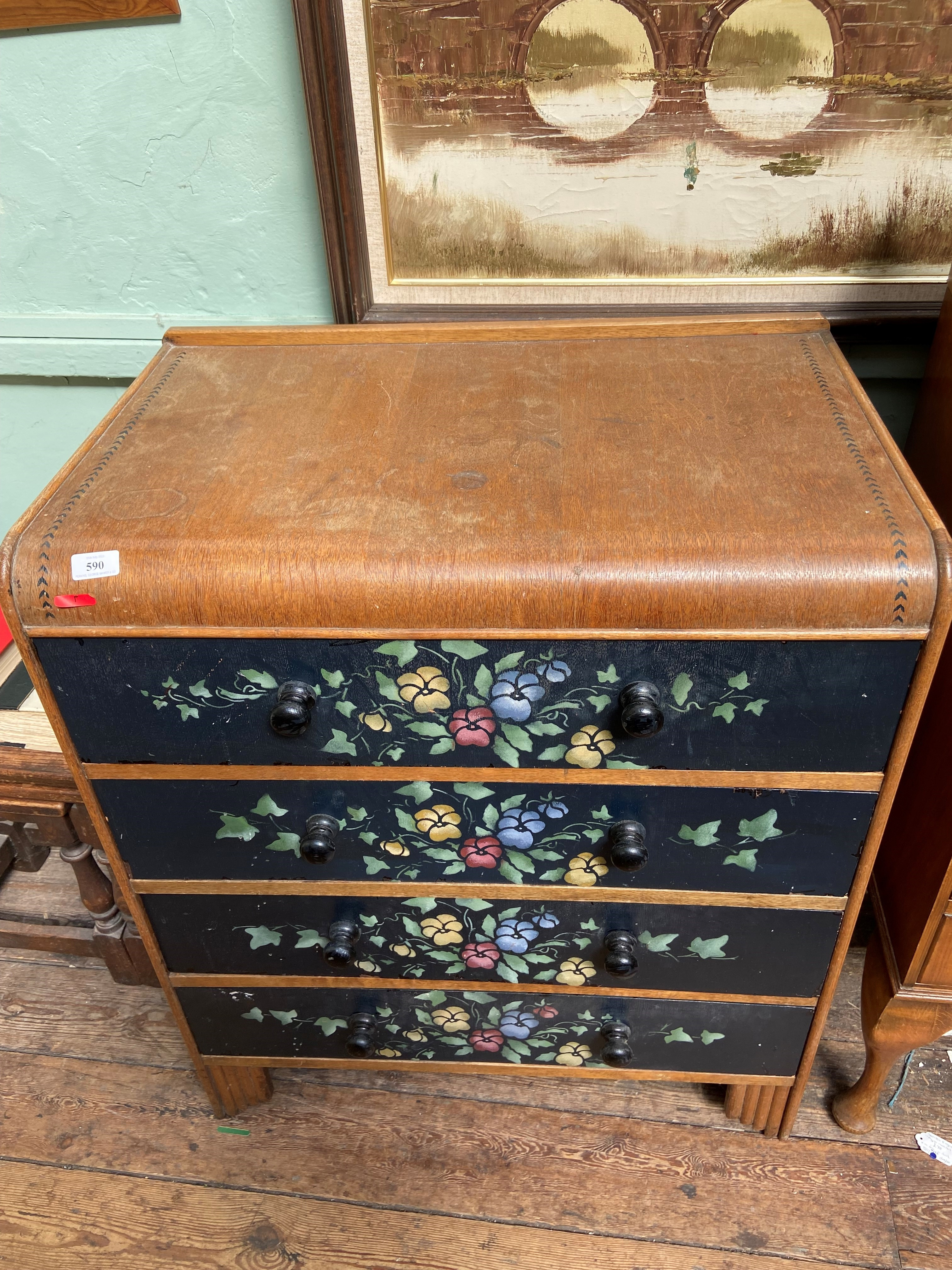 Part painted oak chest of 4 long drawers with bobbin handles