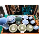 Selection of 13 small Wedgwood pieces in light blue and green