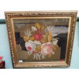 Delightful framed embroidery of a bowl of coloured roses in decorative gilt frame