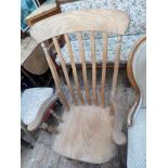 Lancashire fireside chair in mixed woods with 5 shaped splats to back