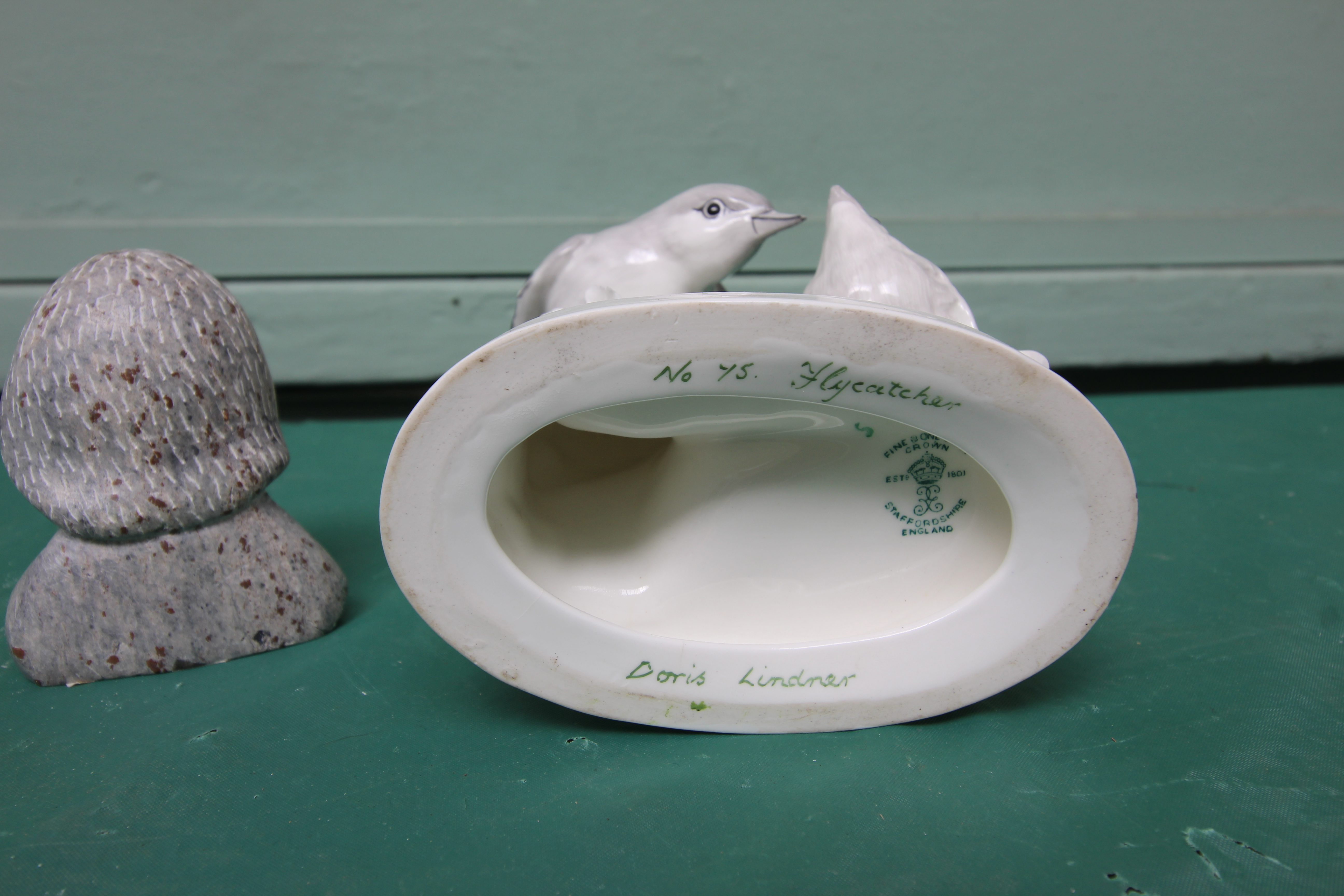 White ground Crown Staffordshire bone china figure of a flycatcher feeding its young (No. - Image 3 of 3