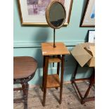 Gentleman's toilet/shaving stand fitted framed adjustable circular mirror and 2 undershelves