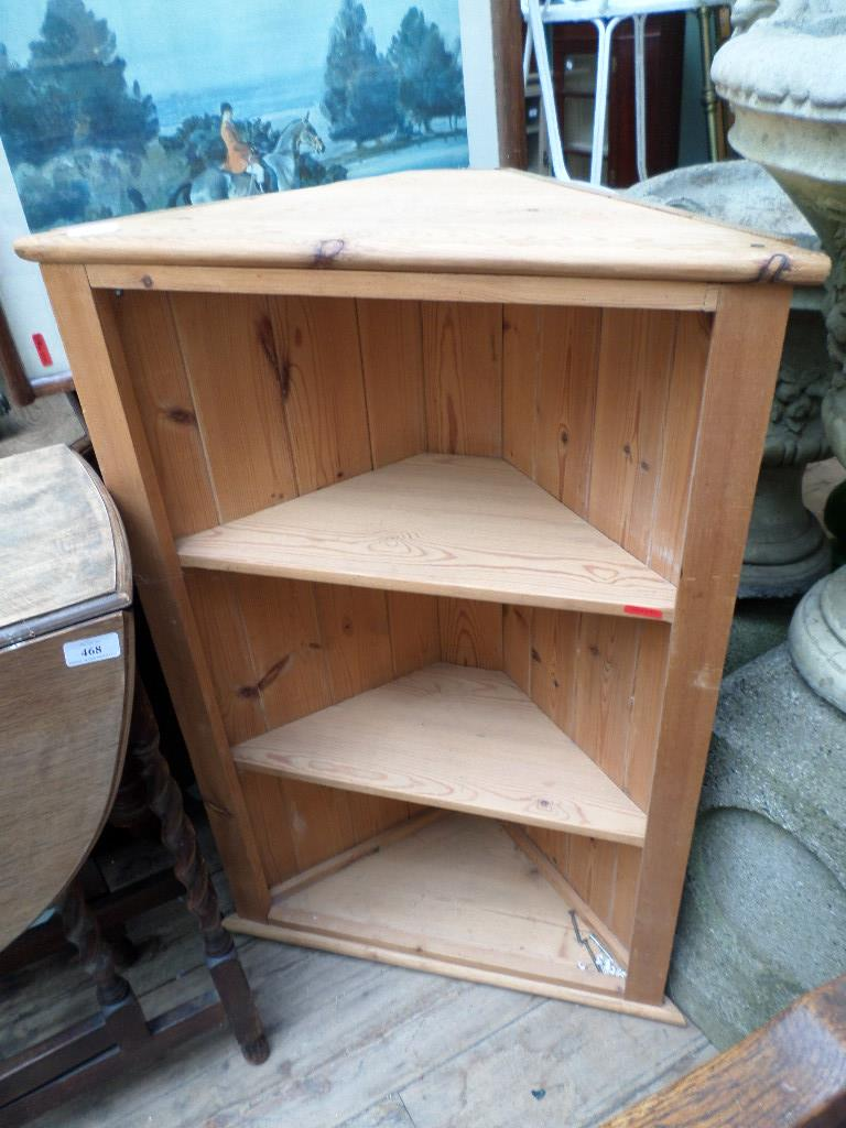 Pine 3 shelf corner display unit (Guide Price £20 - £30) INTERESTING COLLECTABLE'S INCLUDING DOLLS
