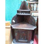 Dark oak carved corner unit with 2 upper display shelves