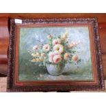 Framed coloured still life floral oil on canvas,