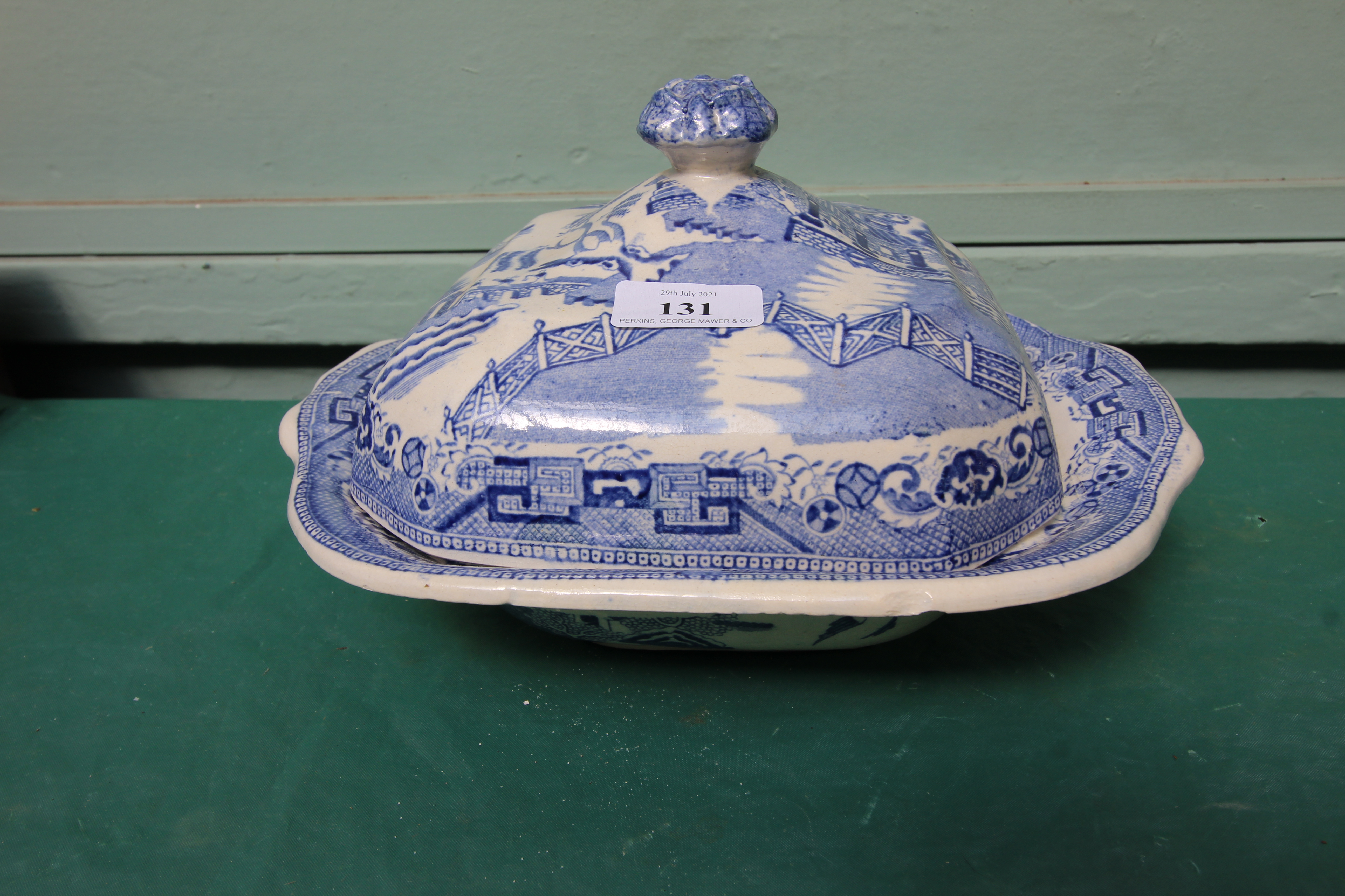 Larger willow patterned vegetable dish in similar style