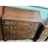 Rich inlaid mahogany fall leaf bureau inset open pigeon holes,