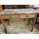 Oak toilet table/wash table fitted 2 drawers with brass drop handles and mottled brown and white