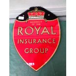 Red backed Royal Insurance glass Agency sign