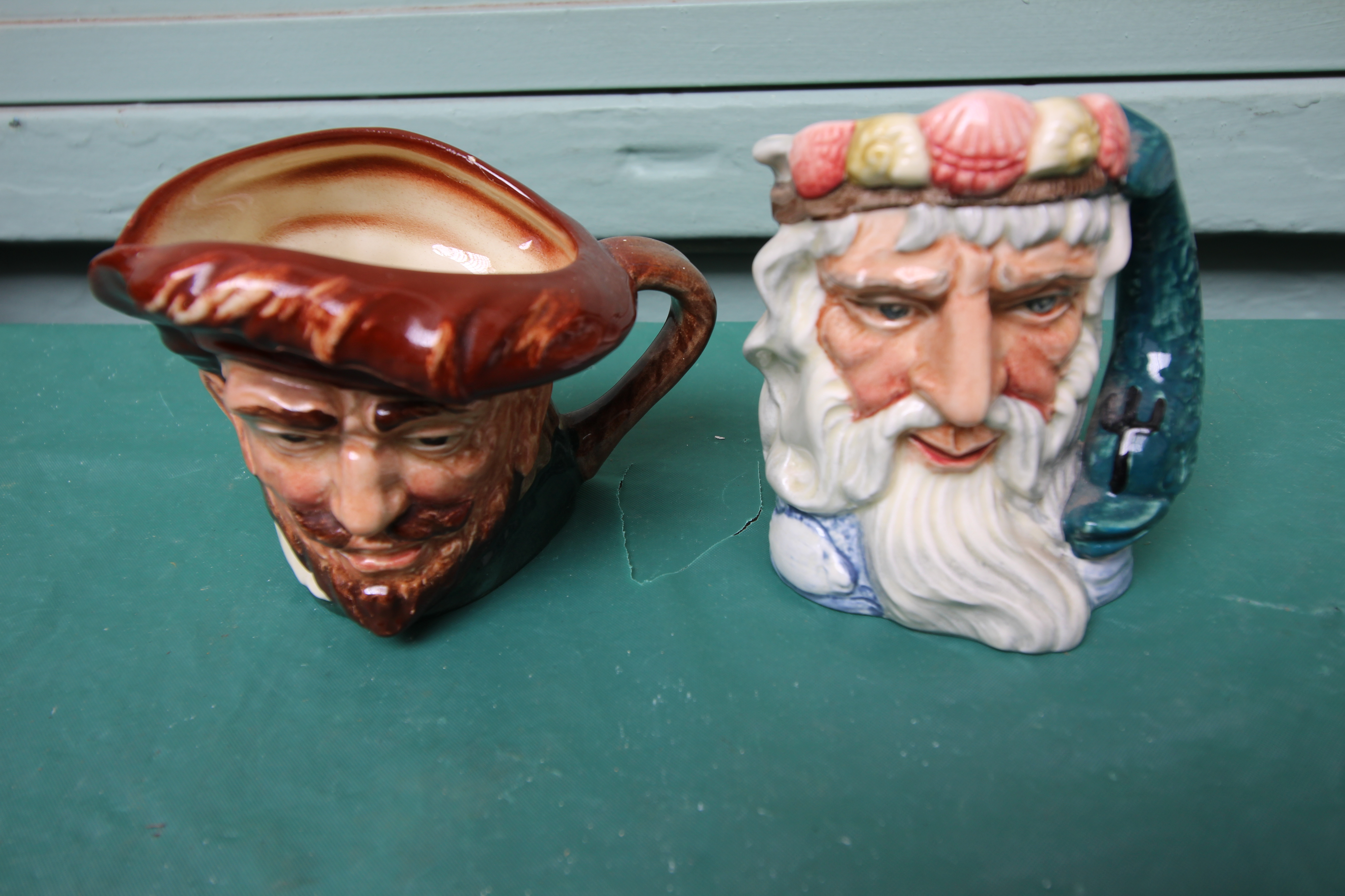 5 miniature Royal Doulton character jugs incl. Gone away, Sairey Gamp, Neptune etc. - Image 2 of 4