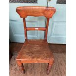 Single hall chair on turned feet with horizontal splat to back