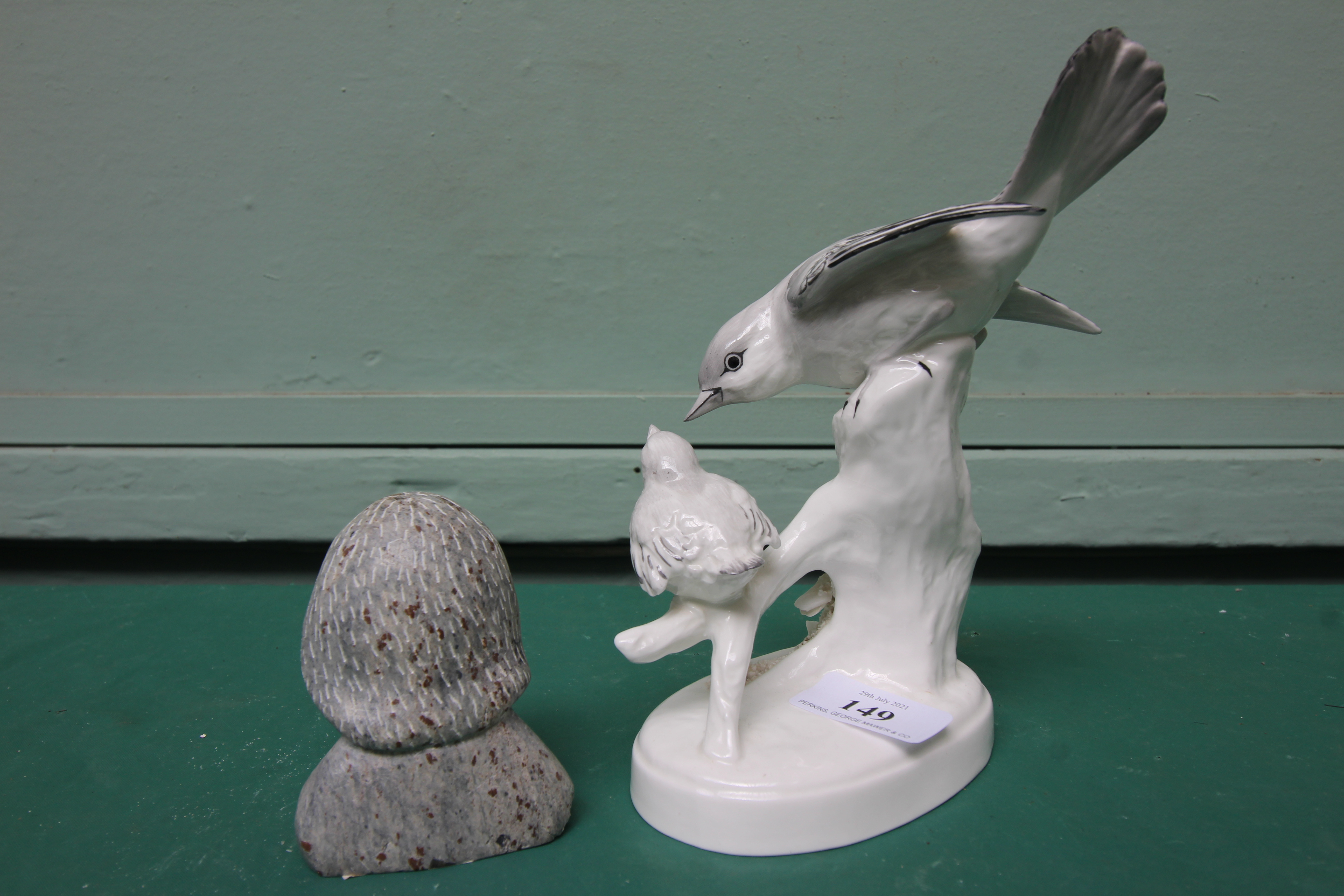 White ground Crown Staffordshire bone china figure of a flycatcher feeding its young (No. - Image 2 of 3