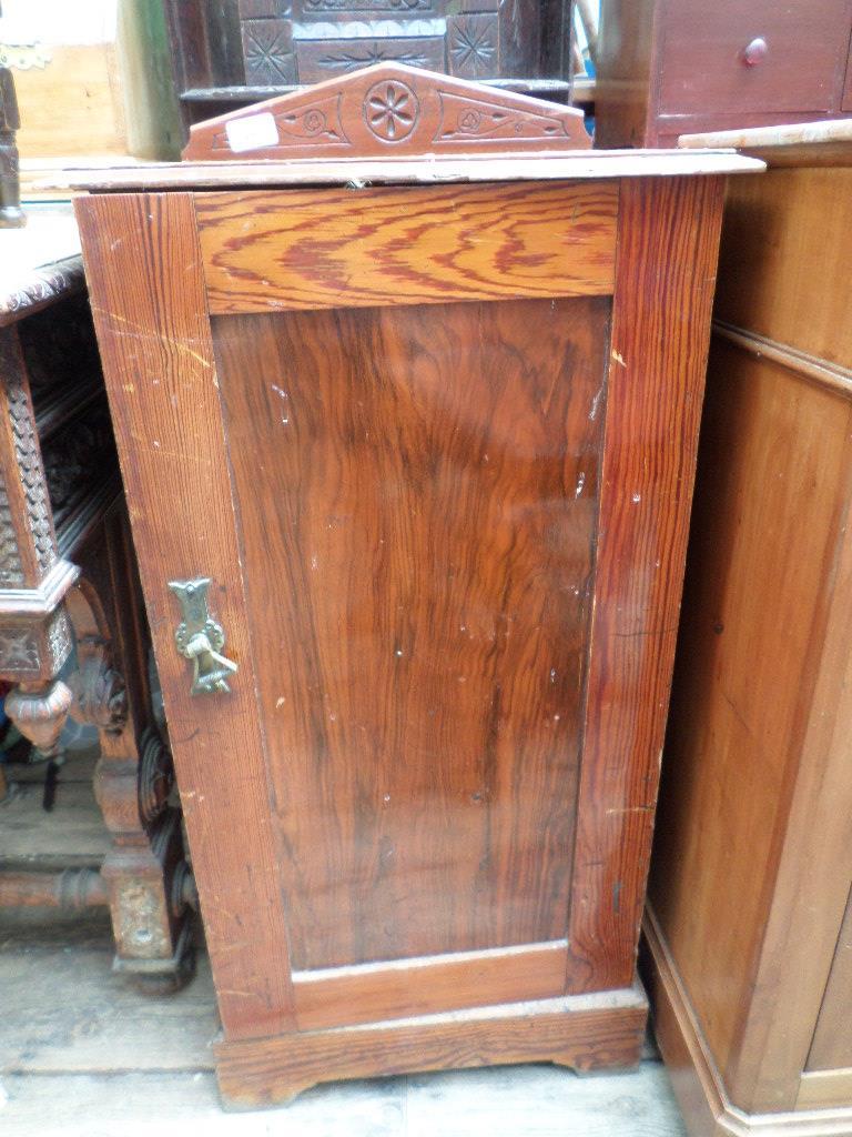 Brown painted shelved bedside cupboard