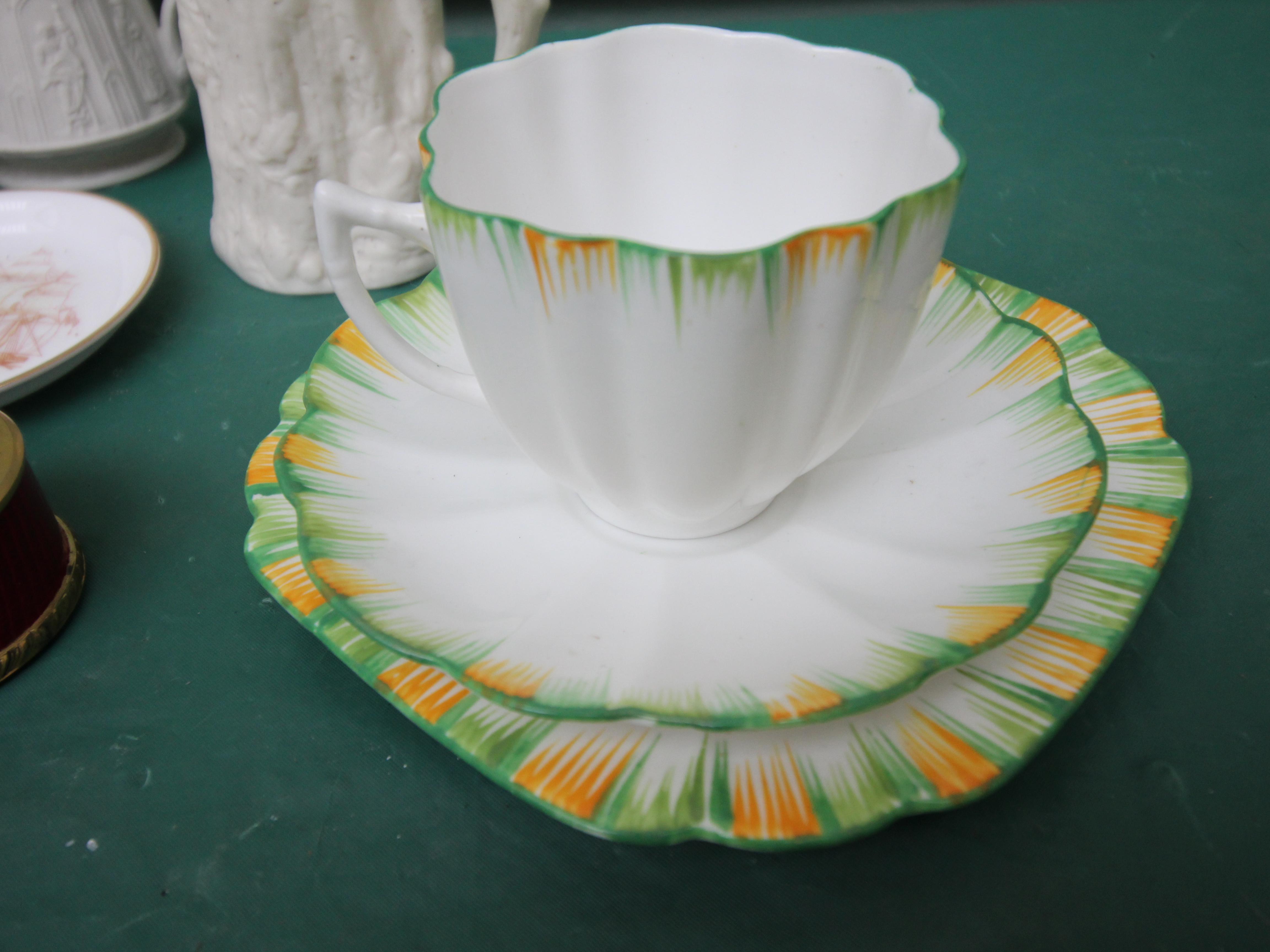 Green and orange surround Melber patterned bone china trio, - Image 3 of 3