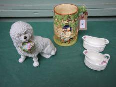 Miniature Coalport oval posy vase and matching jug,