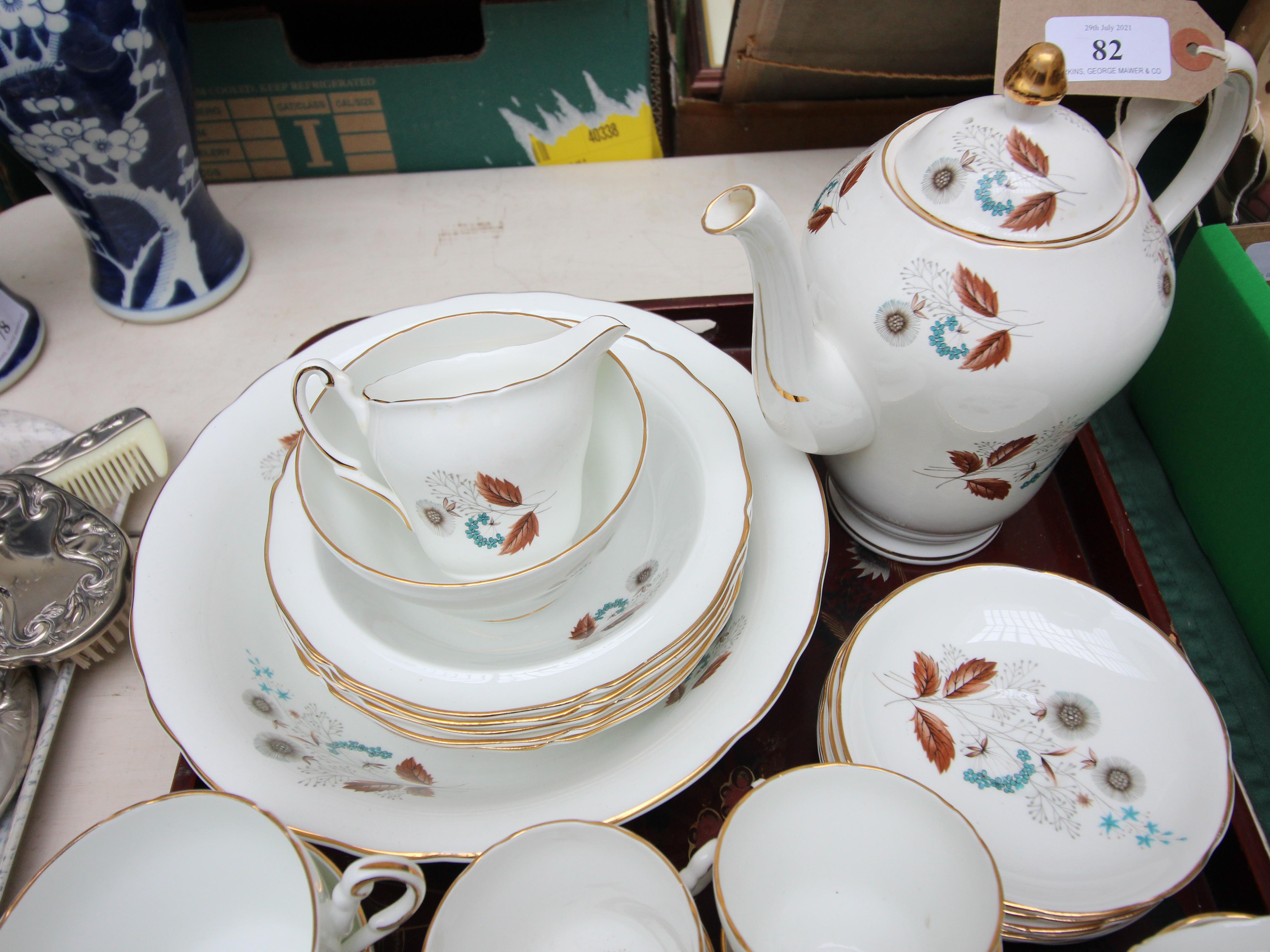 White ground English Regency bone china tea and dessert service decorated autumnal sprays incl. - Image 3 of 4
