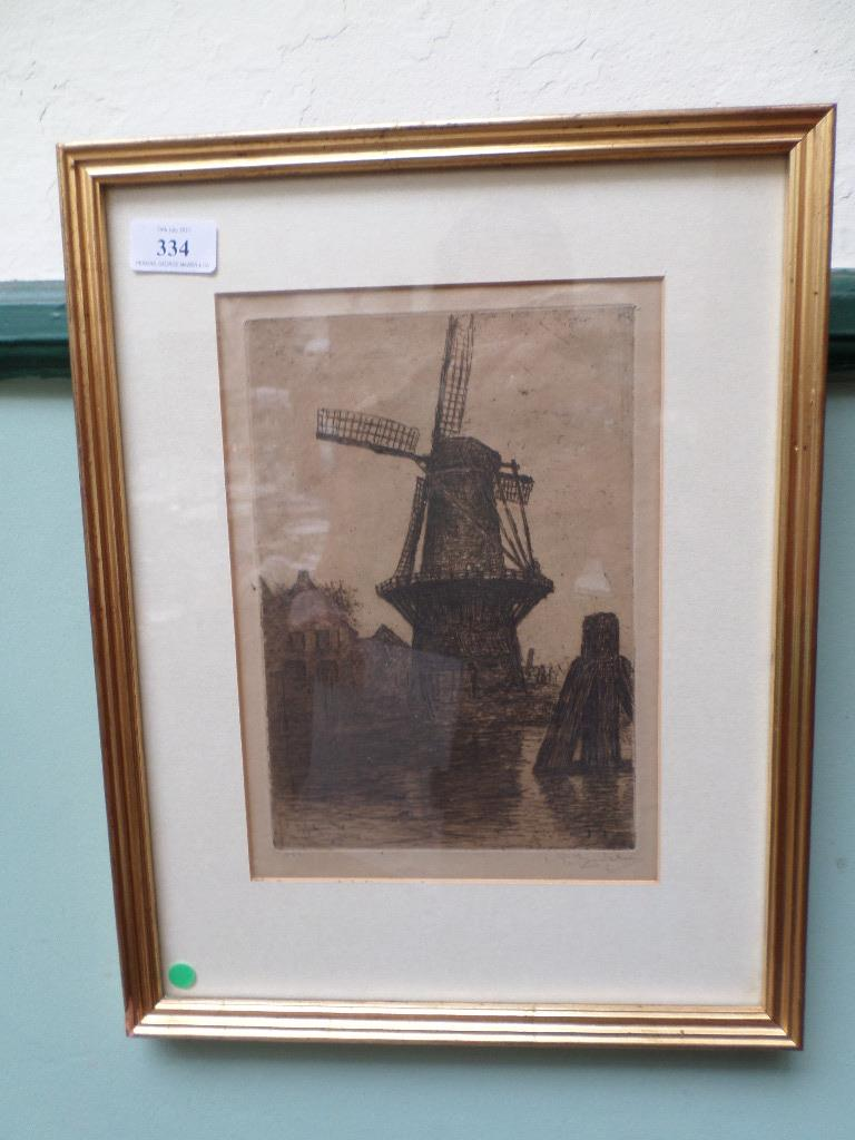 Gilt framed signed sepia print of a windmill