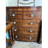 Figured mahogany bow fronted period chest of 2 short and 3 long drawers each fitted glass handles