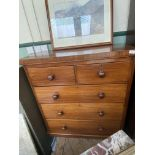 """Mahogany chest of 2 short and 3 long drawers all with bobbin handles (39"""" x 18"""" x 42"""" high)"""