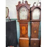 19th Century long cased clock inlaid mixed woods, swan neck pediment and brass finial,