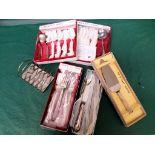 Sel. of unused boxed community plate cutlery, stainless steel toast rack etc.