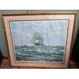 Gilt framed coloured print signed Mountbatten of Burma of 'Windsor Castle' a sailing ship in full