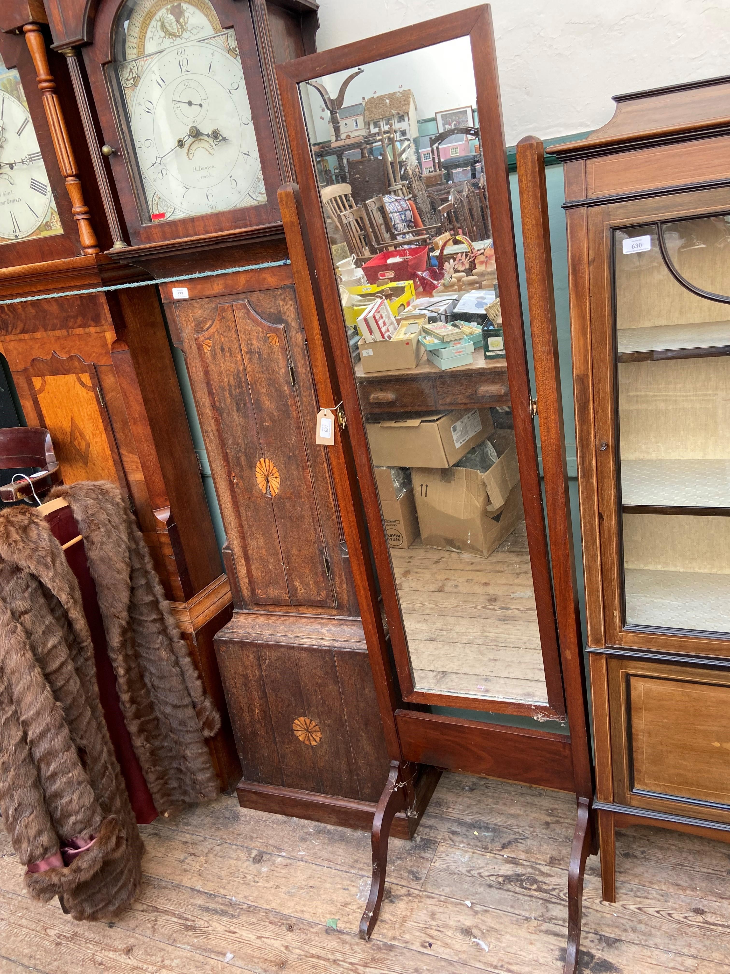 Mahogany framed cheval mirror
