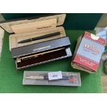 2 Paperweight pens and an unused Lambert & Butler Parker biro in original boxes and 3 sets of