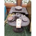 Set of early brass and metal kitchen scales with weights