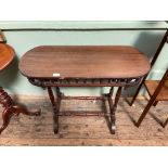 Mahogany rectangular and oval topped side table,
