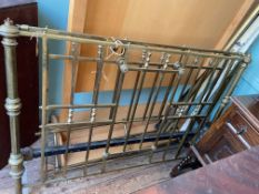 Brass double bedstead with overhang