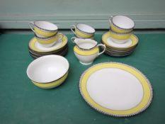 Victoria Czechoslovakia 'Black Primrose' 6 piece tea service (complete - 21 pieces),