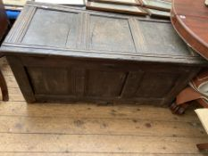 """Antique 3 panelled oak coffer chest (50"""" x 23"""")"""