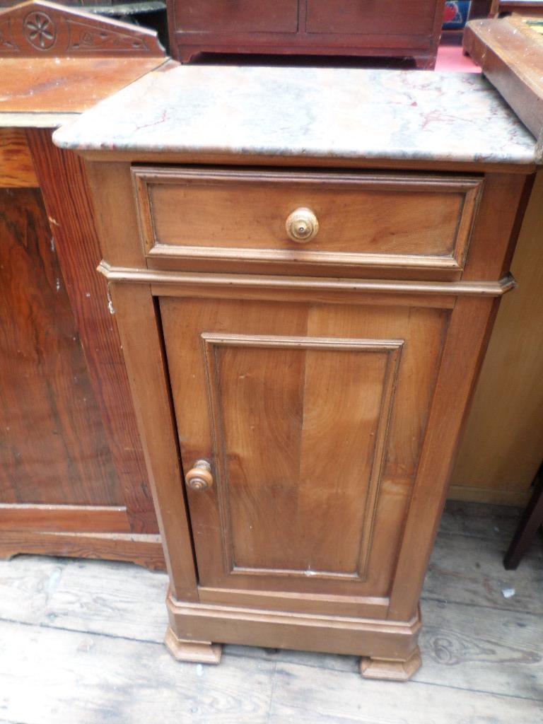 Bedside side cupboard fitted lower shelves inset single shelf with upper drawer and mottled tiled