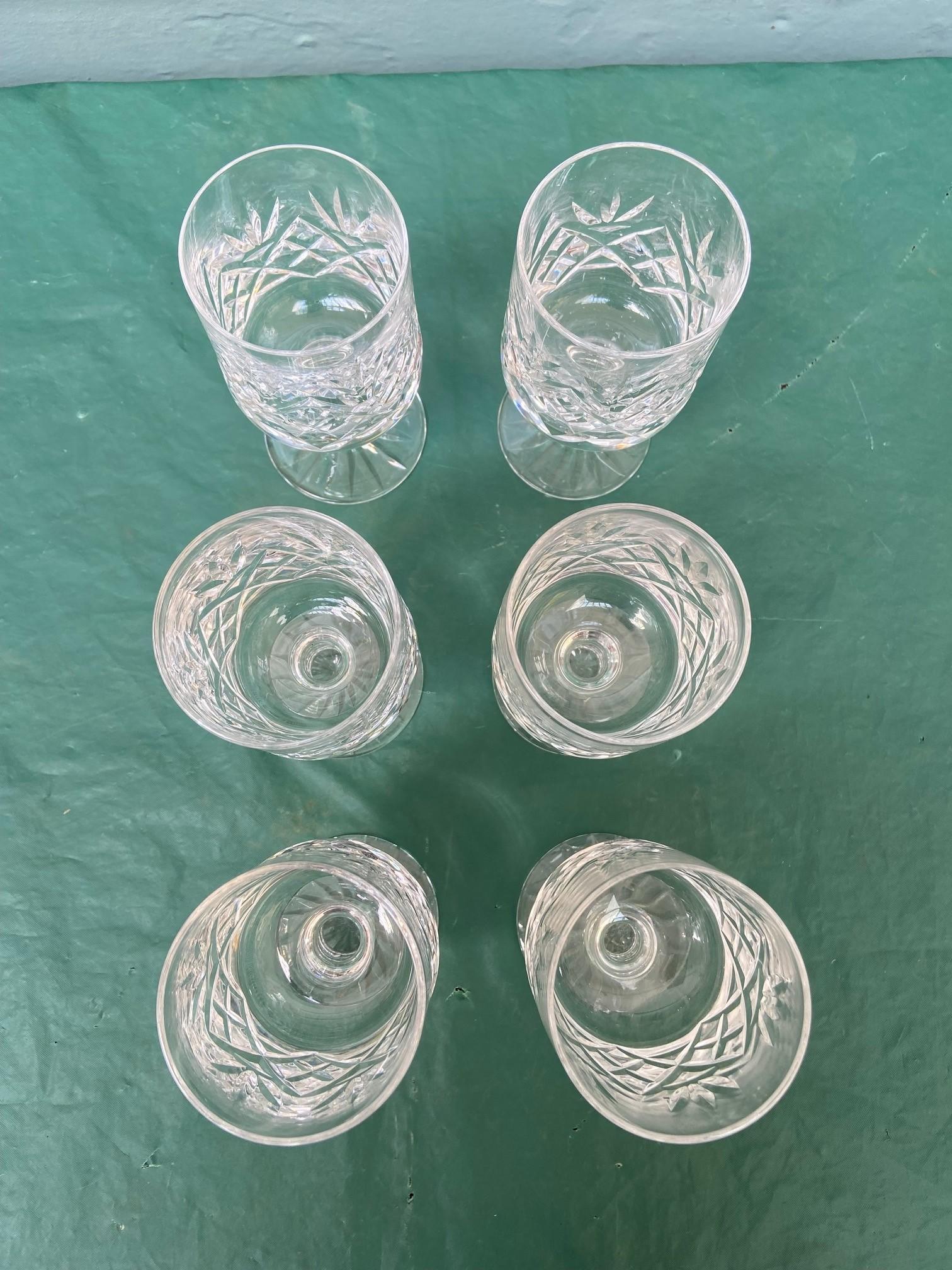 6 diamond cut Stuart crystal wine glasses - Image 5 of 11