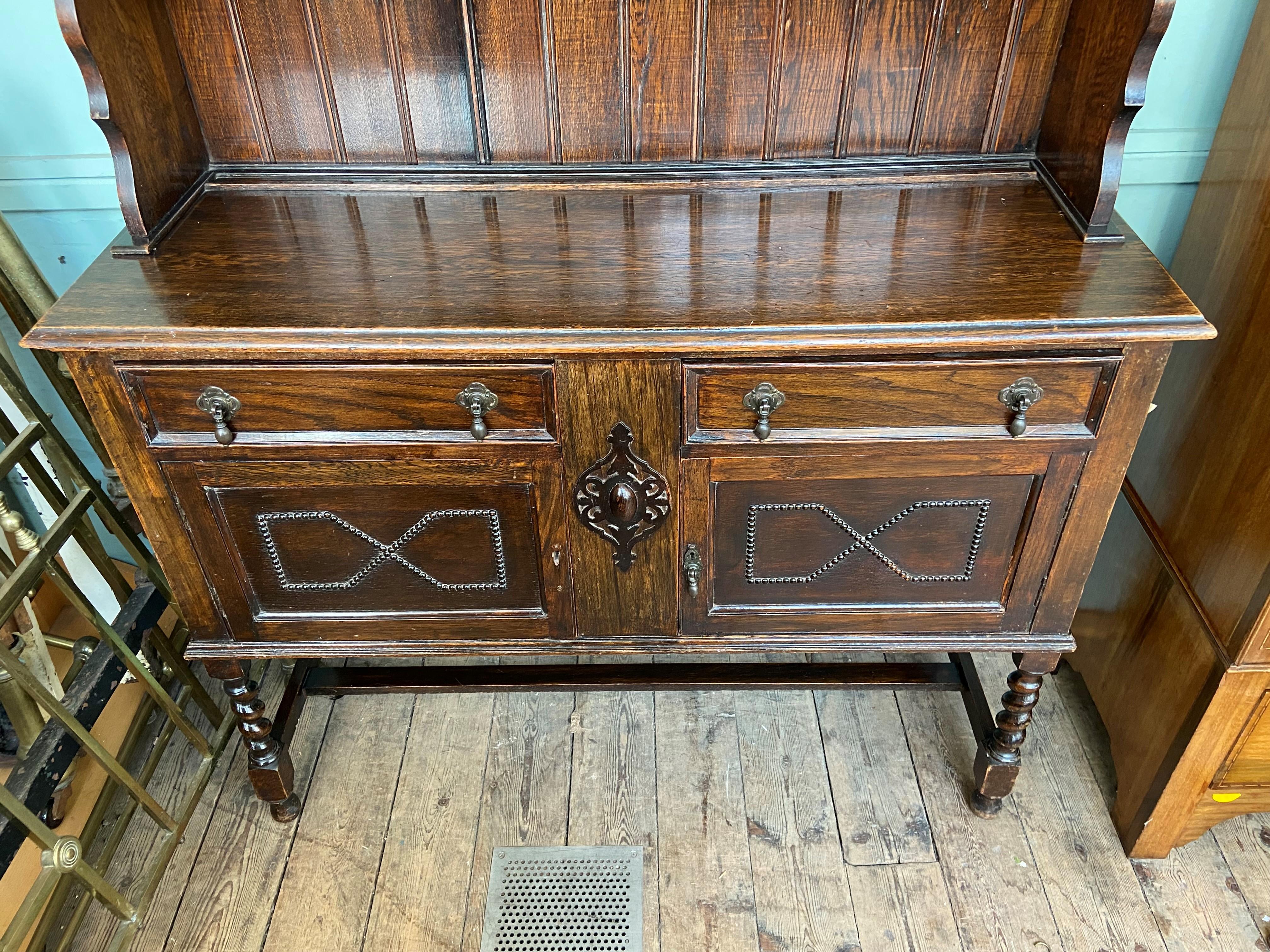 Early 20th century dark oak sideboard dresser, - Image 2 of 2