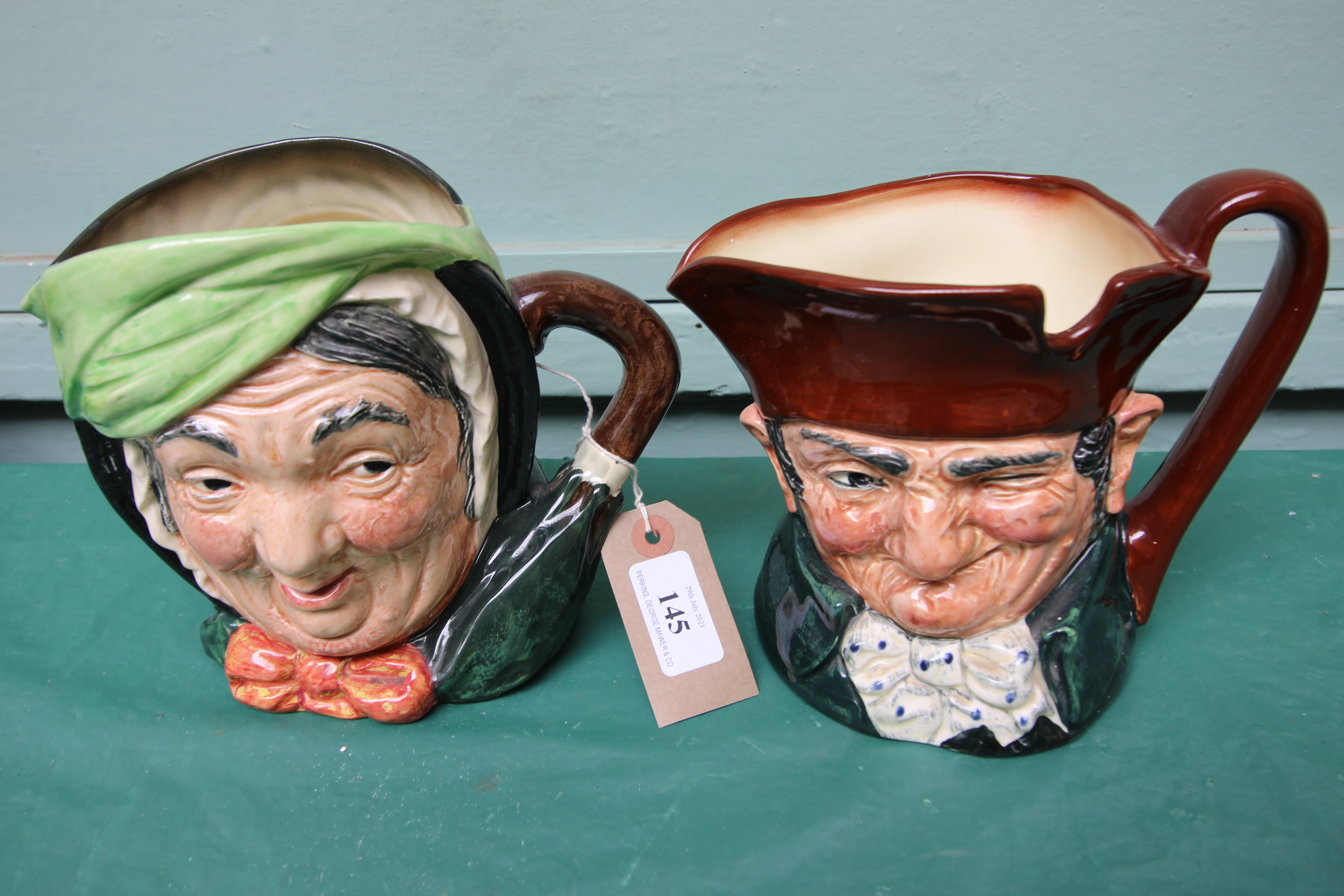 Large character jug 'Sairey Gamp' and another 'Old Charlie'