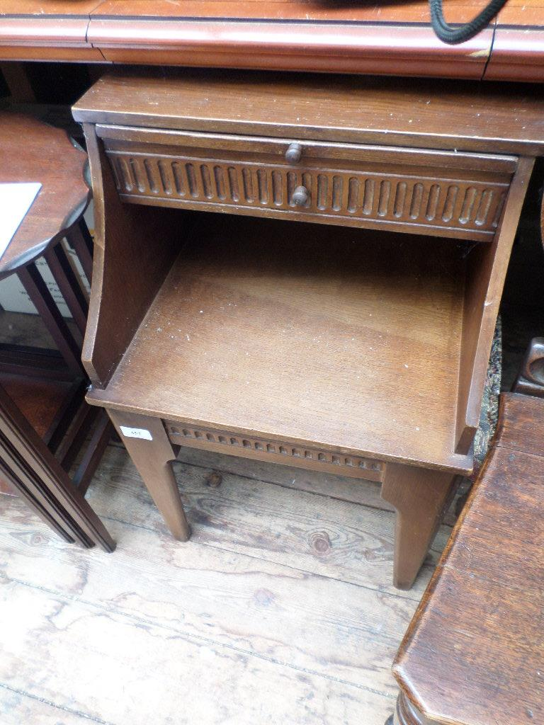 20th century oak telephone table fitted single drawer and upper slide