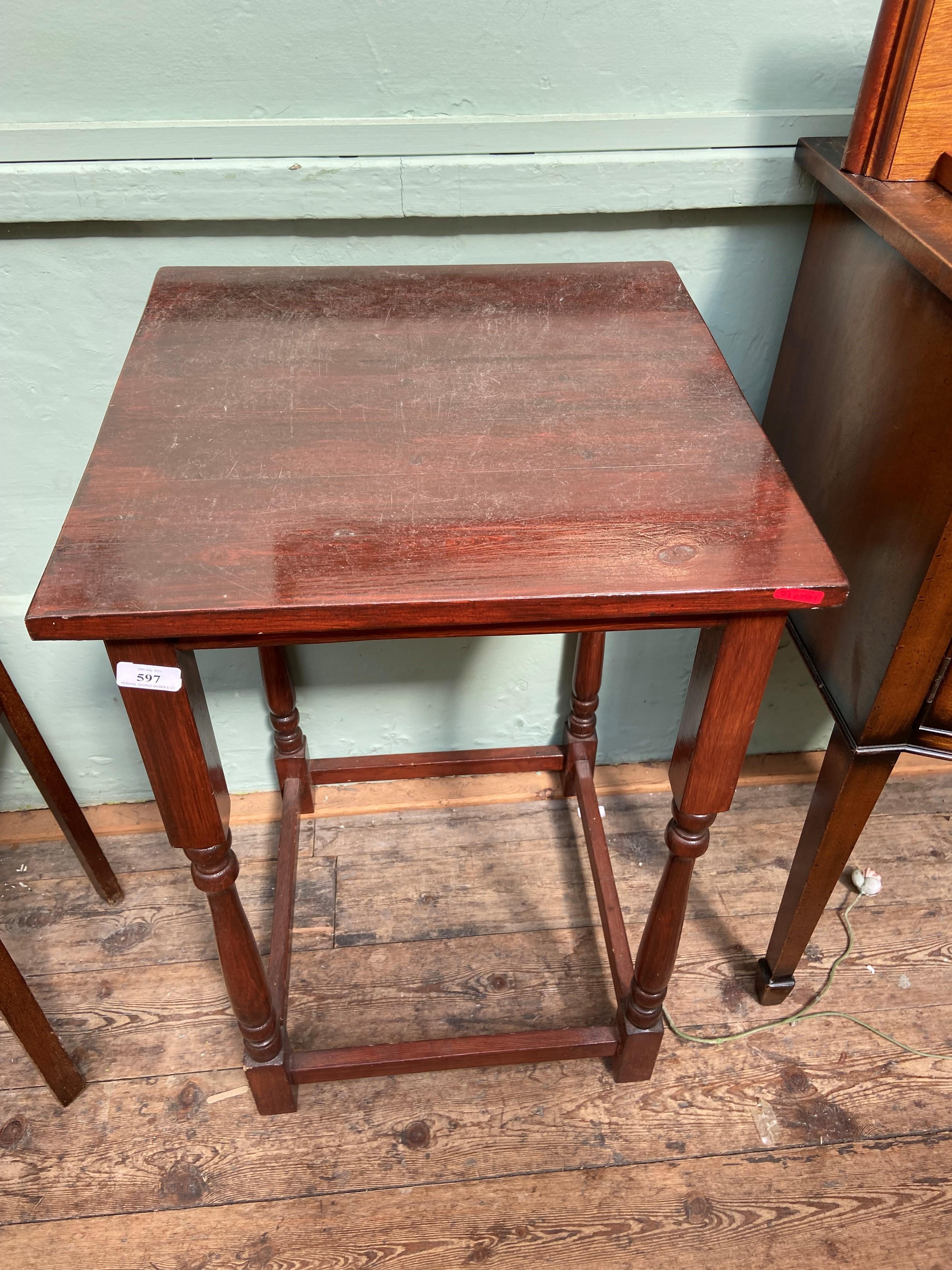 Rectangular topped side table on 4 turned feet