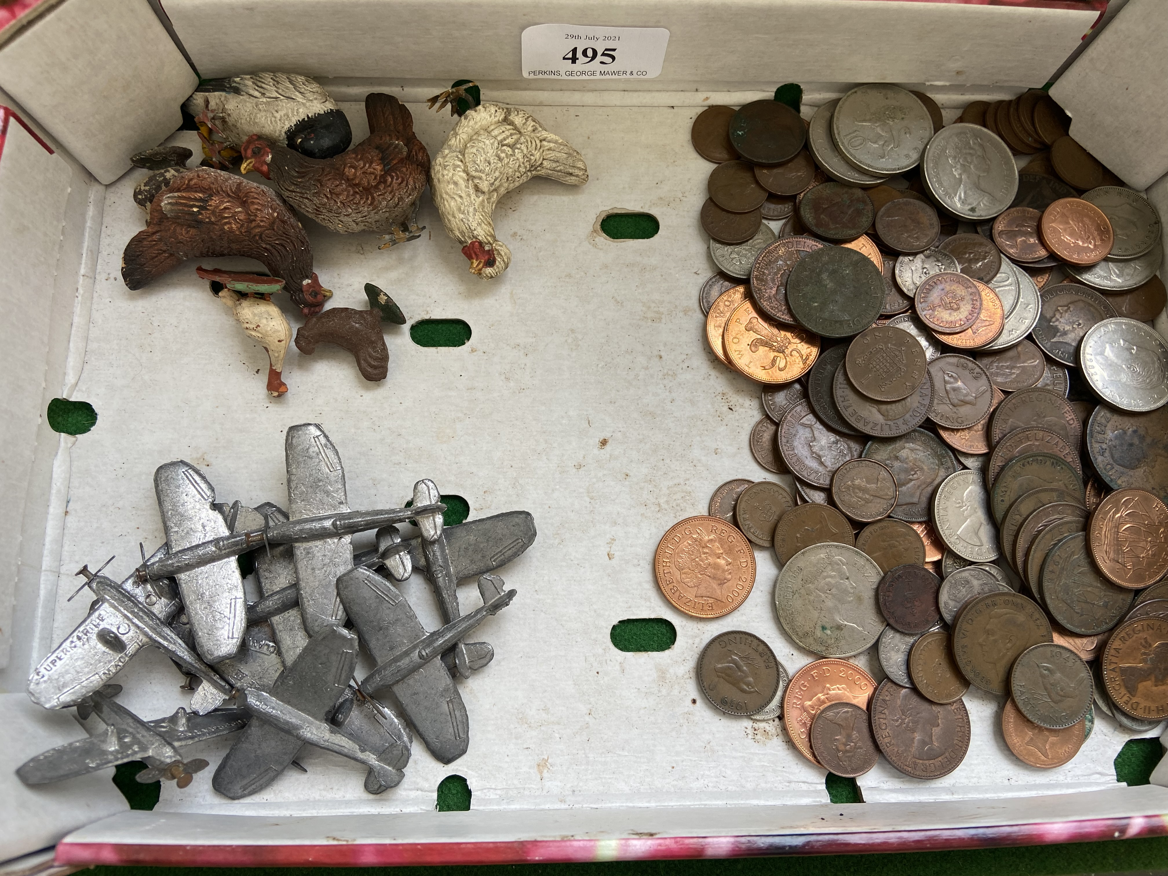 Sel. of mixed coins, principally early QE II, small metal aeroplanes, farmyard chickens etc.