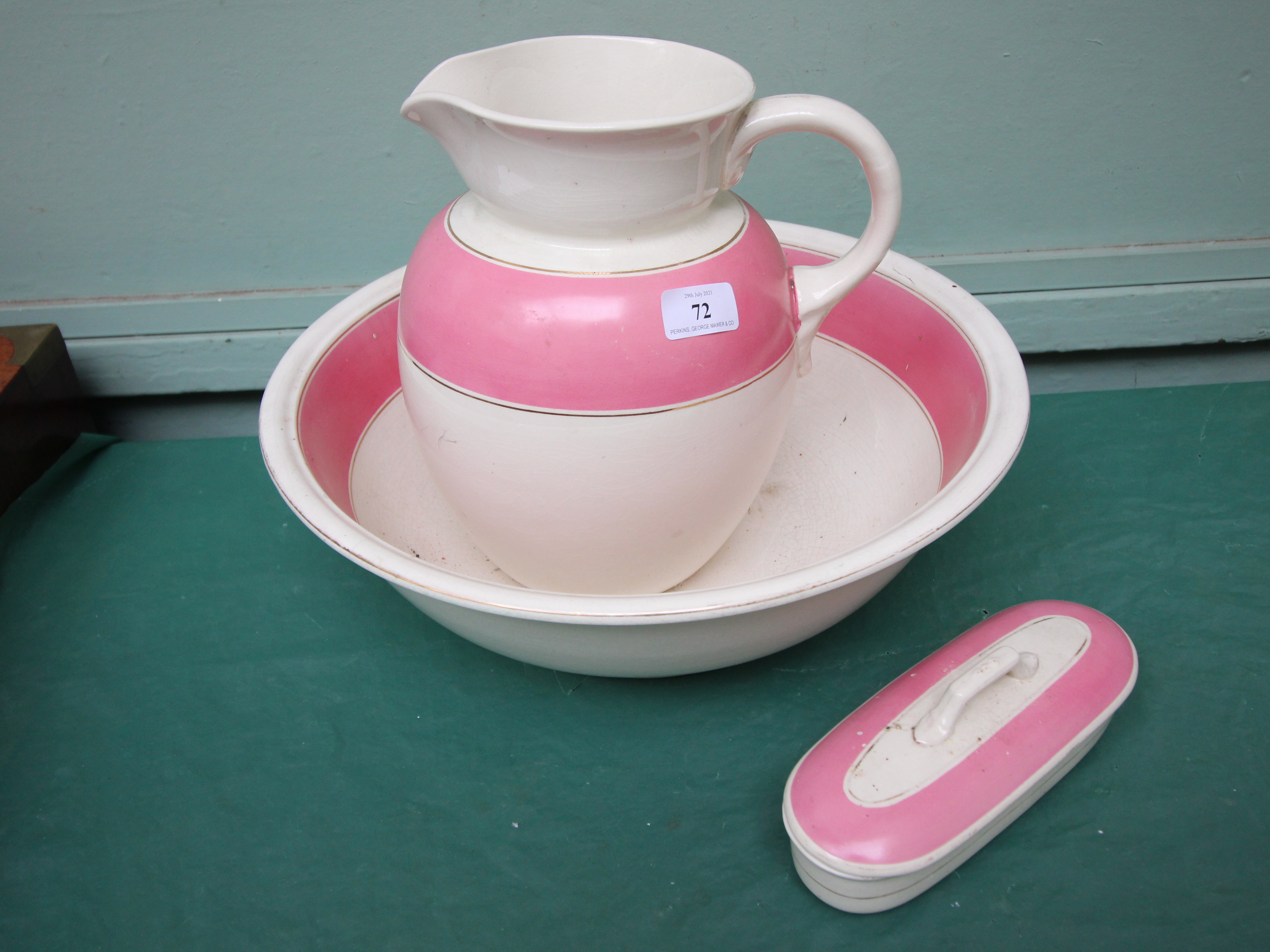 3 piece pink and white jug and bowl chamber set