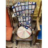 Early 20th century kitchen fireside rocking chair in mixed woods