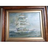 Framed oil on canvas of a boat in full sail, miniature silhouettes etc.
