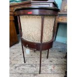 Most delicate mahogany oval fall topped needlework cabinet inset lined storage cpt.