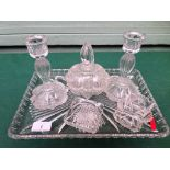 MISCELLANEOUS 6 piece moulded glass dressing table set