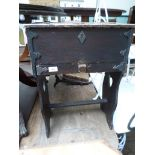 Black painted pine storage unit fitted single drawer and fall leaf top