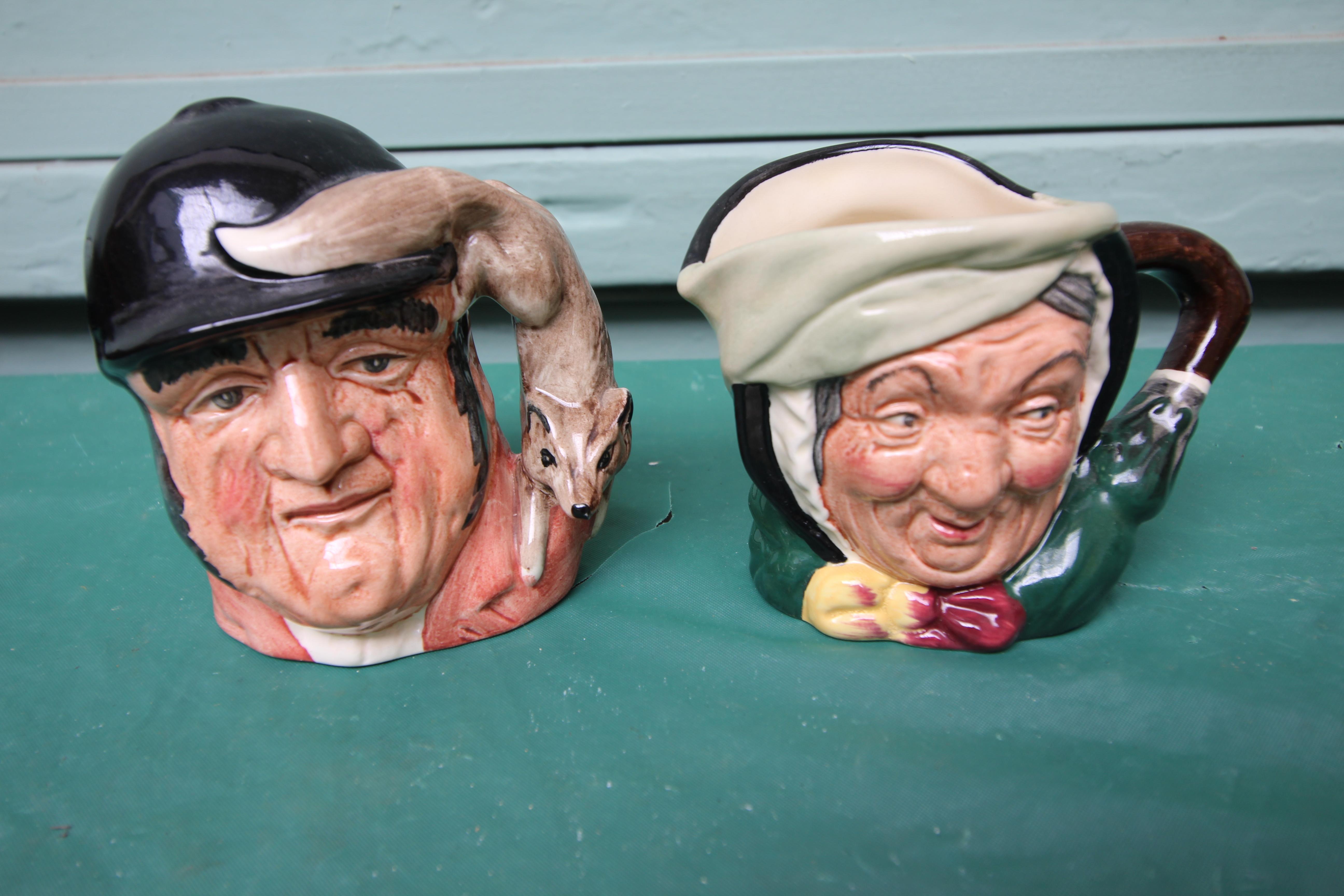 5 miniature Royal Doulton character jugs incl. Gone away, Sairey Gamp, Neptune etc. - Image 3 of 4