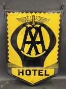 A pair of AA Hotel enamel signs by Franco, mounted back to back in original frame in excellent